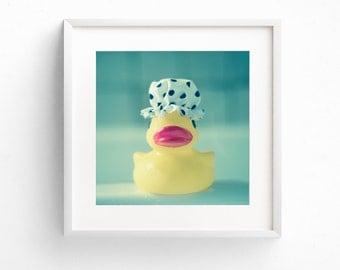 Nursery Wall Art, Whimsical Art, Mint Green, Square Print, Bathroom Wall Art, Rubber Duck Print, Quirky Print, Cute Photograph, Toy Wall Art
