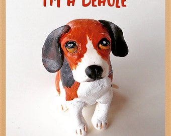 Clay Beagle dog wedding cake topper
