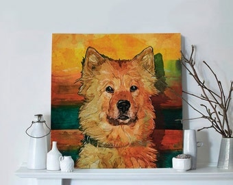 Custom pet painting on canvas picture, wall decor dog portrait in modern art style, vivid printed pet portrait based on photo