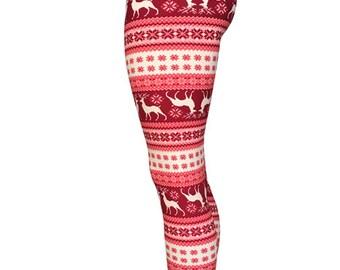 Christmas Leggings-reindeer leggings-santa leggings-christmas women leggings-womens christmas-ugly sweater-snowflake winter leggings-pink