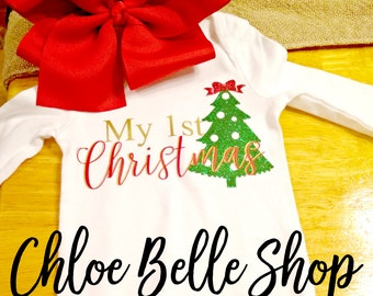 My First Christmas Tree infant onesie