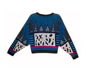 Retro 1980's NYC Skyline Abstract Novelty Sweater