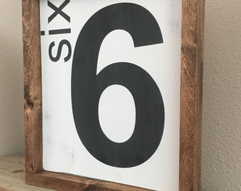Number sign family number wood painted and stained sign farmhouse number sign