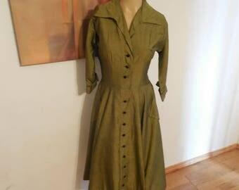 SALE Vintage Olive Green Midi Dress - Collared, 3/4 Sleeve - Minimalist Style