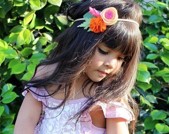 Citrus Kiss Felt Flower Crown - Baby Headband - Baby Bows - Photo Props - Headbands or Clip - Infant and Toddler - Newborn - Baby Girl