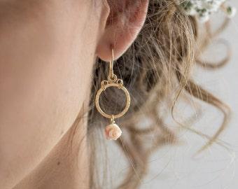 Pink rose earring gold, flower dangle earrings, gold flower earrings, wire wrapped earrings, bridal flower earrings, bridesmaid earrings