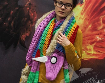 Adventure Time inspired Lady Rainicorn Crochet Scarf - Made to Order