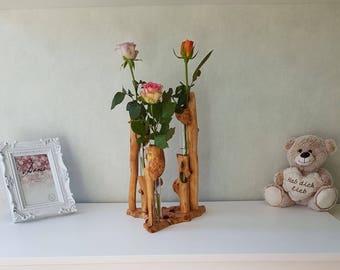 Flower vase - vase - wood - flower stand - flower vase - grained wood