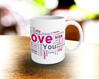 Valentine's Day Coffee Mug, Love Word Art Coffee Mug, Kisses Coffee Mug, Custom Mug, Word Art, Love, Gift Idea, Valentine Gift
