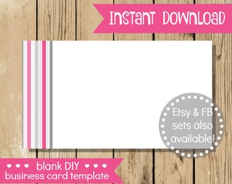 Diy business card etsy blank diy business card pink grey stripe do it yourself blank business card template solutioingenieria Gallery
