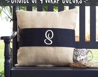 Farmhouse Style Pillow Covers, Throw Pillows that Change Color, Interchangeable Burlap Pillow Wraps, Personalized Monogram Pillow, 513999270