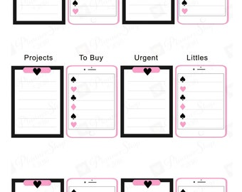 TO DO CLIPBOARD Planner Sticker | Happy Planner Row Template | Planner Printable | Pink iPad iPhone | Instant Download