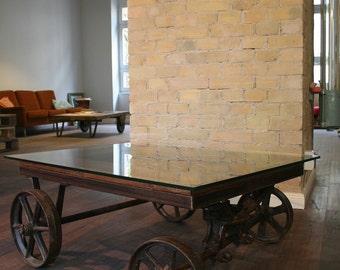 Vintage industrial design coffee table in stable motor loft table industrial design coffee table