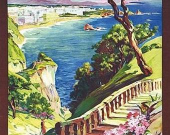 Vintage Biarritz France Tourism Poster  A3 Print
