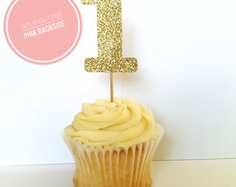First Birthday Cupcake Toppers|Number 1 Cupcake Toppers|One Cupcake Toppers|Pink and Gold|Winter Onederland Party| First Birthday Party| One