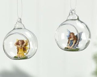 Hanging globe fairy ornament