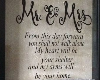 Mr and Mrs frame, Newly weds gift, Mr & Mrs gift, wedding gift, anniversary gift