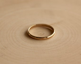 Solid 14k Gold Band, Thin Gold Ring, Handmade Solid Gold Simple Band
