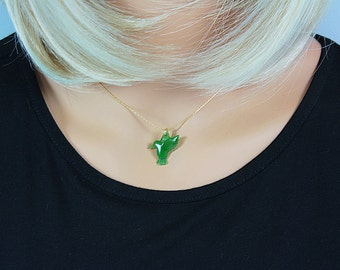 Nephrite Jade Hummingbird on Real Gold Chain, Jade Hummingbird Necklace,Jade Necklace,Bridesmaid Necklace,Jade Bridal Necklace,Jade Gift