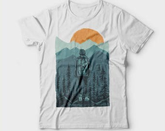 Wanderer, Hiker shirt, Gift for hiker, Hiking shirt, Nature shirt, Nature is calling t shirt, Adventure shirt, Mountain tee, Forest shirt