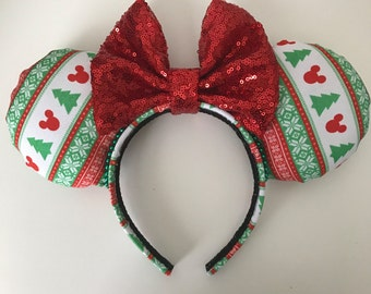 Disney Inspired Ugly Christmas Sweater Minnie / Mickey Mouse Ears