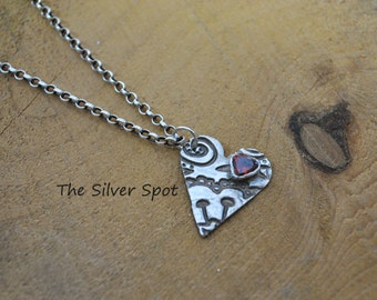 Unique Delicate Pure Silver Red Gemstone Heart Necklace   Valentines gift   Gift for Her   OOAK