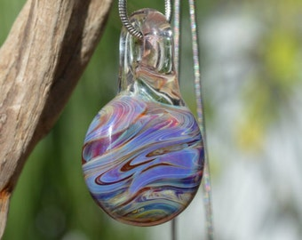 Hand Blown Glass Pendant - Round Necklace Charm