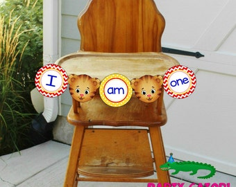"Daniel Tiger Birthday ""I Am One"" Banner / Daniel Tiger Birthday Party Highchair Banner- FILE to PRINT DIY"