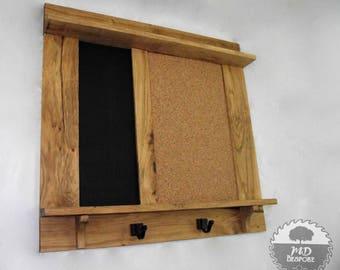 Oak Chalk Board - cork board - wooden notice board - black board - pin - memo - Kitchen - office - shelf- organiser - framed - wall.