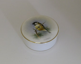 Hand painted bone china trinket box with bird design