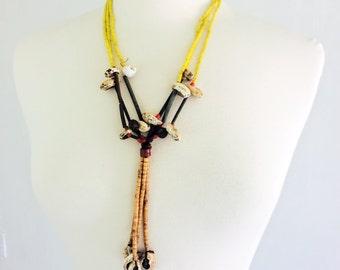 Vintage Fulani Beaded Necklace West Africa Nomadic Tribal