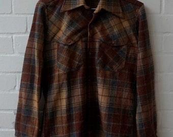 Vintage 1970s Men's Wool Plaid Shirt S, UK 36