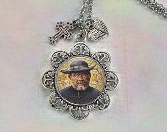 St. Damien Necklace w-Heart and Cross Charms, Father Damien of Molokai, Saint Damien Patron Saint of Lepers, Martyr of Charity, Kalaupapa
