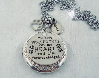 Customized w-Your Photo-You Left Paw Prints on My Heart and I'm Forever Changed Pet Memorial, Cat Memorial, Dog Memorial, Keychain Available