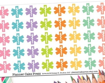40 Star of Life Stickers| EMS EMT Stickers | Paramedic Planner Stickers | Emergency Medical Service Gift | Fits Erin Condren Other Planners