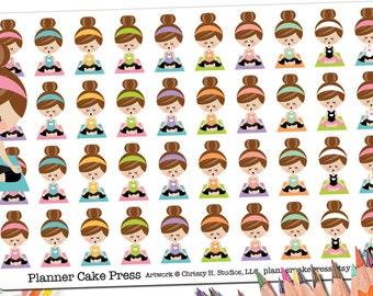 40 Yoga Stickers | Yoga Planner Stickers | Yoga Girl Kawaii Asian Blonde Brunette Redhead Black Girl | Yoga Mom Yogi Gifts | Fits ECLP More