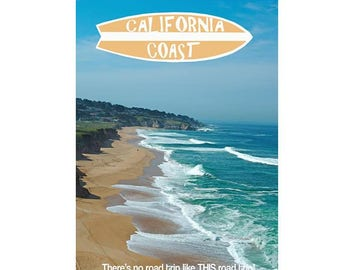California Coast Poster - Road Trip Poster California - Pacific Coast Highway Poster