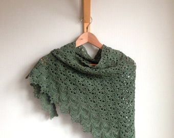 Green Cotton Crochet Shawl, Greenery Spring Summer Wrap, Autumn Lacy Crocheted Scarf, Fern Olive Green Triangle Lace Shawlette Neckerchief