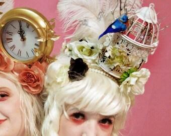 Rococo Birdcage Headdress (costume/Victorian/fantasy/Marie Antoinette/wedding/prom/tea party/Alice in wonderland)