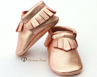 Baby Moccasins Leather Baby Moccasins, Rose Gold Fringed Leather Baby Moccasins, Baby Girl Moccasins, Toddler Moccasins, Baby Girl Shoes