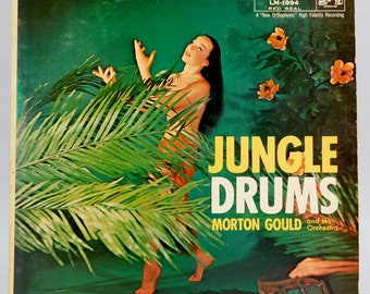 Vintage Bachelor Pad Vinyl Record / Jungle Drums / Martin Gould and His Orchestra / RCA Victor LM-1994 / 1956 / Space Age / Exotica / Latin