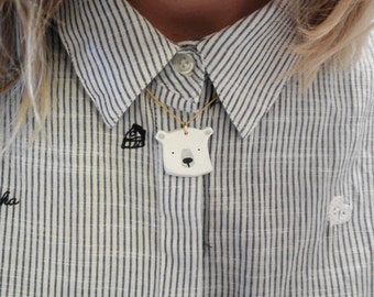 Handmade white Bear necklace//original and different gift for them//Hipster & Trendy