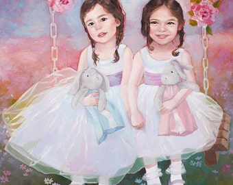 Custom Twins Watercolor Portrait Child Kid Hand Painted Personalized Artwork Realistic painting from your photographs. Wall Art gift.