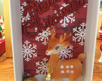 Little fawn out in the snow wishing everyone a Merry Christmas! Ornament, glitter, deer, holiday, festive, whimsical