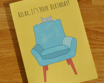 Birthday Card 24% Sale Reduction - Cat card - Designed and Printed in the UK - Funny Card