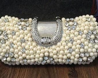 Pretty Pearl, Silver and Crystal Clutch Bag - Bridal, Bridesmaid, Prom BAG16