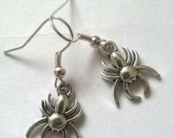 Handmade earrings with spiders
