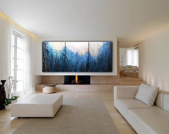 ORIGINAL ABSTRACT Painting 90x40 XLarge Canvas Art Blue Absrtact Painting Minimalist Art Canvas Art Modern Art Acrylic Painting