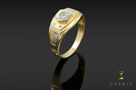 14k Solid Yellow Gold Men's Solitaire Ring Uverly Jewelry