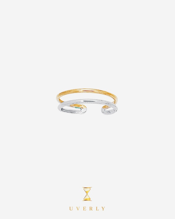 14k Solid Yellow&White Gold Elegant Adjustable Toe Ring